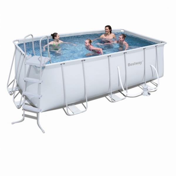 Bestway power steel frame pool rectangulaire bestway for Piscine bas prix