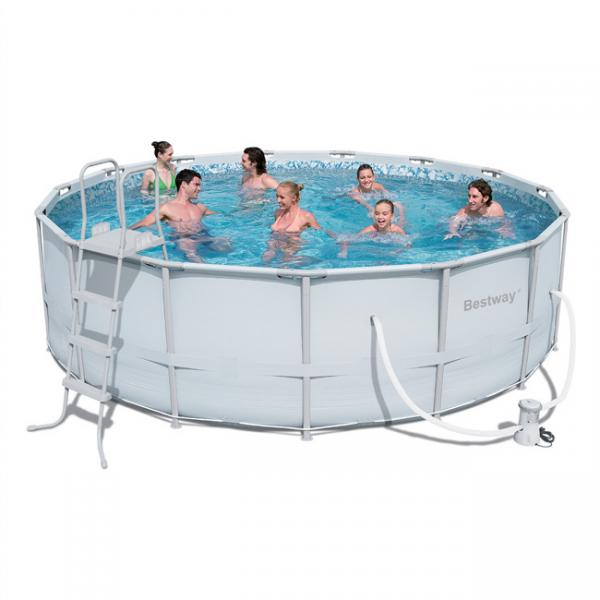 Bestway power steel frame pool rond bestway for Piscine bas prix