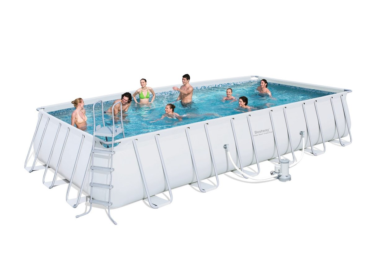 Bestway power steel frame pool rectangulaire bestway for Piscine rectangulaire bestway
